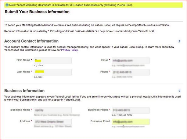 submit your business information