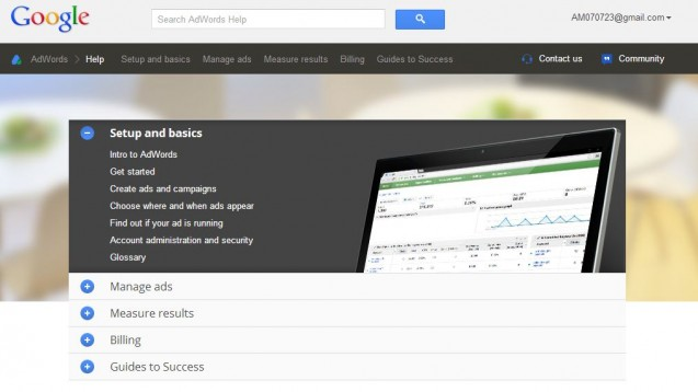 redesigned google adwords help center
