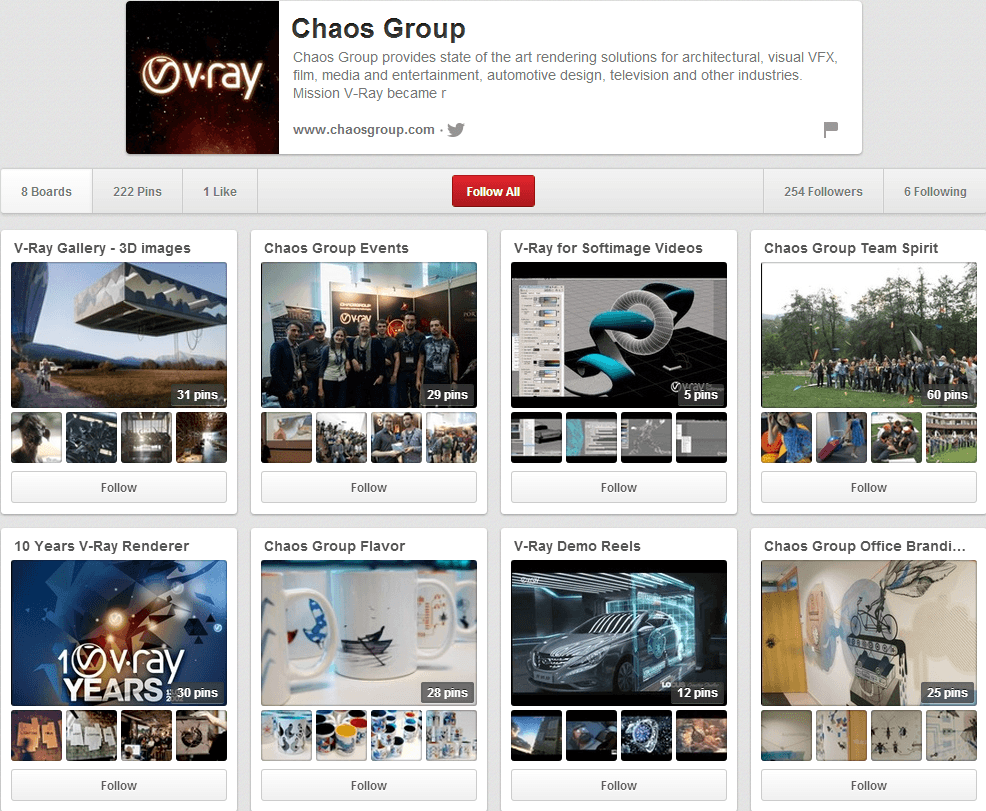 Chaos Group Pinterest Page