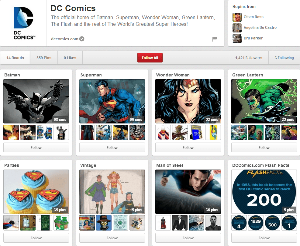 DC Comics Pinterest Page