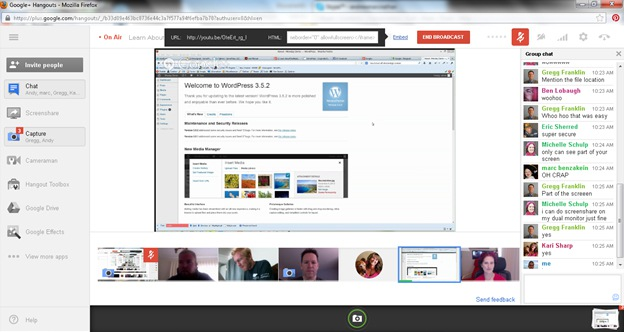Google Hangout on Air Screenshot With Screenshare