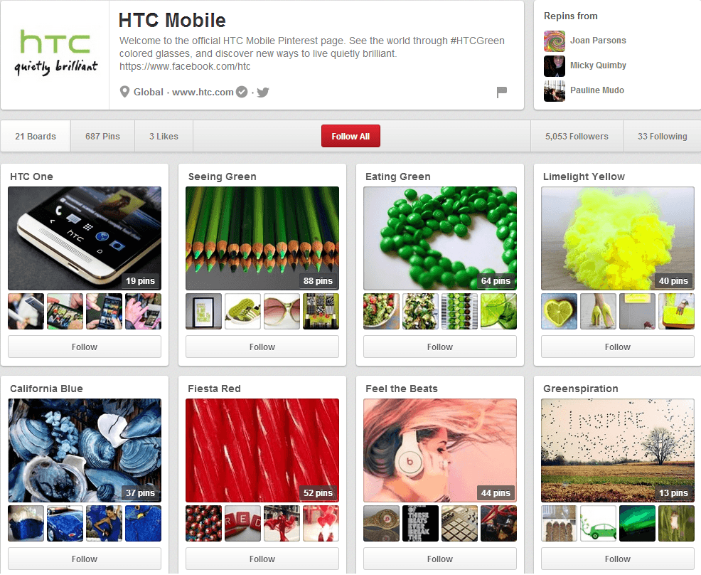HTC Mobile Pinterest Page