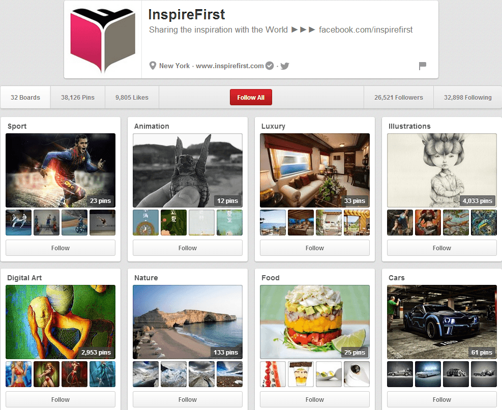 Inspire First Pinterest Page