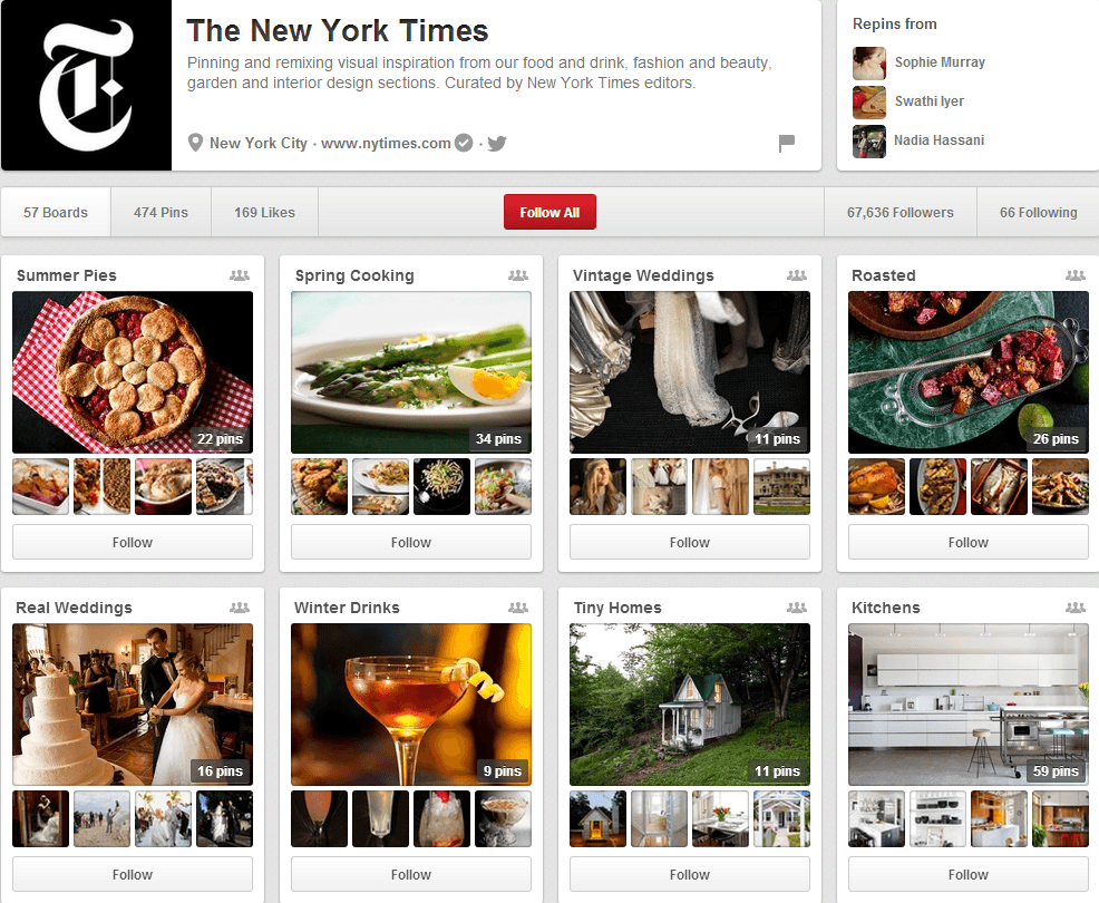 The New York Times Pinterest Page