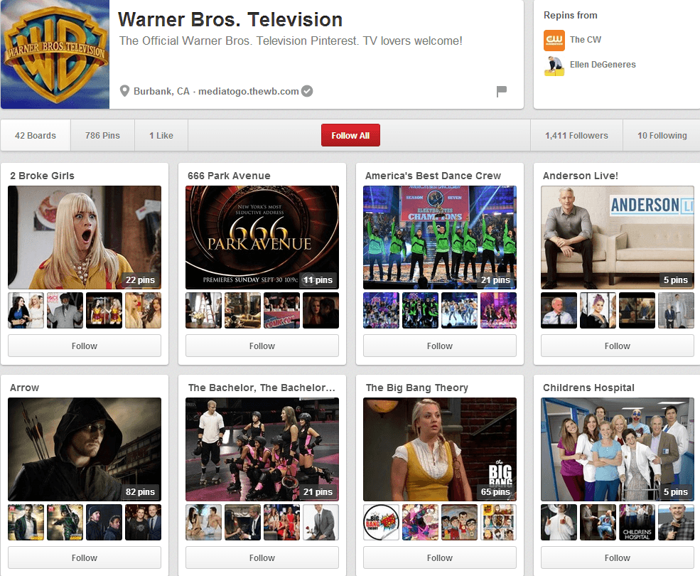 Warner Bros Pinterest Page