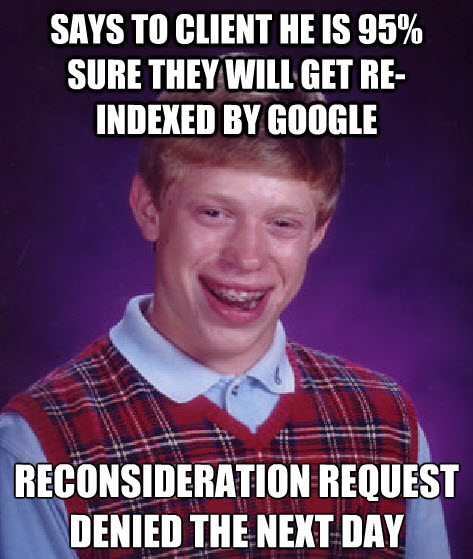 Bad Luck Brian Google penalty