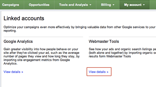Adwords connection to Webmaster Tools