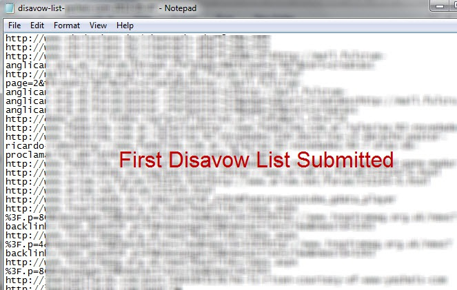 disavow list submitted