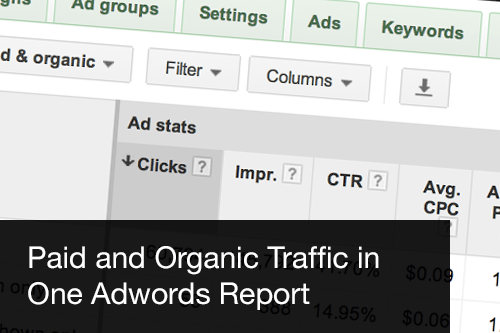 Paid and ogranic traffic in Adrwords report