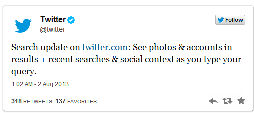 New Move by Twitter: Universal Search Results