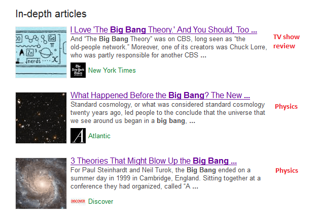 In-depth articles for big bang
