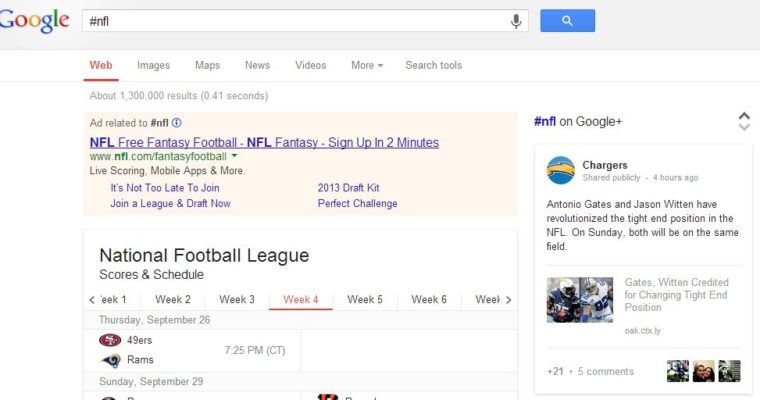 Google Now Displays Google+ Hashtag Results in Search Queries