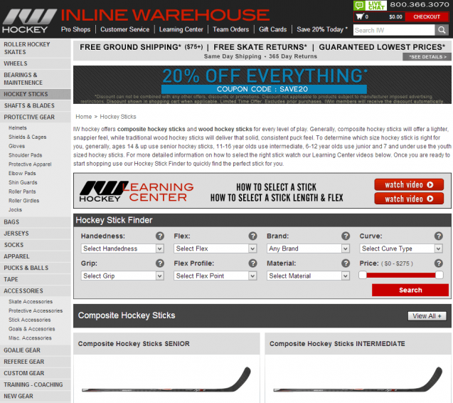 Inline Warehouse Hockey Sticks Landing Page