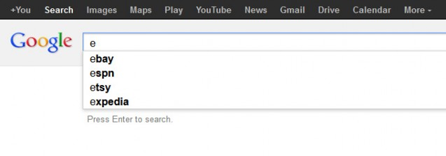 e - ebay google suggest