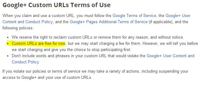 Google+ May Charge For Custom URLs in The Future