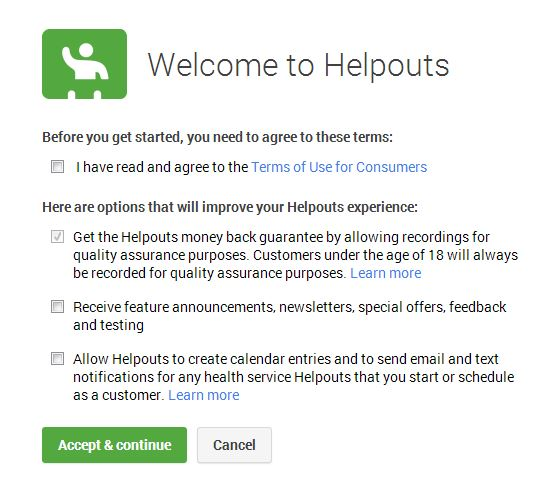 Google Helpouts terms