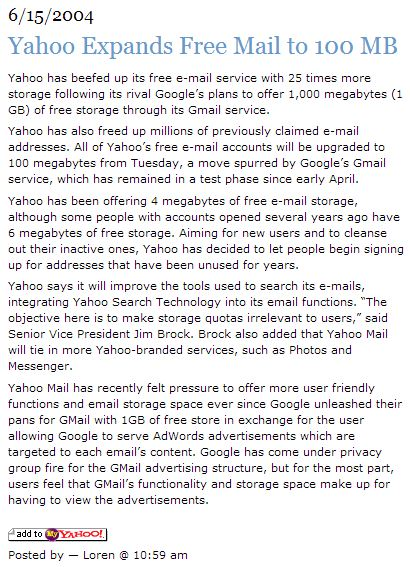 Yahoo Expands Free Mail to 100 MB