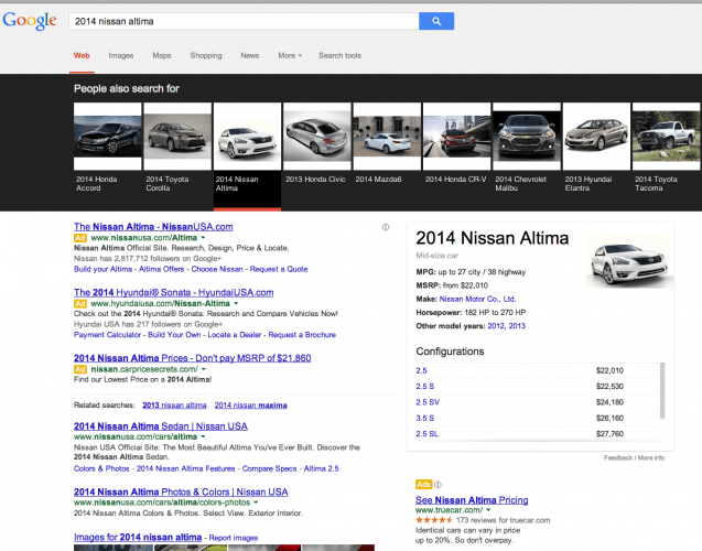 ImageHeavy SERP automotive