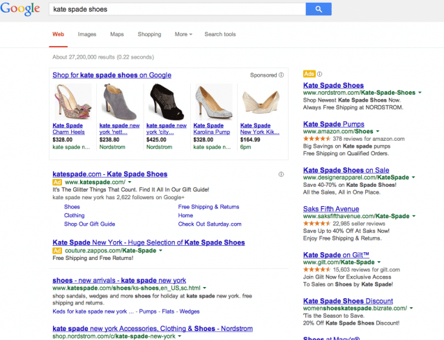 Kate Spade Google PLA Focused SERP