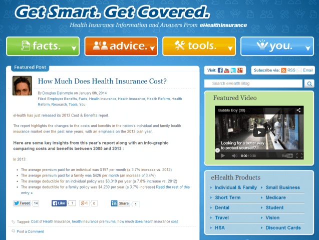 Screenshot of eHealthinsurance's blog