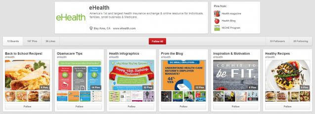 eHealth Pinterest Profile