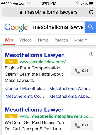 mesothelioma lawyers mobile results