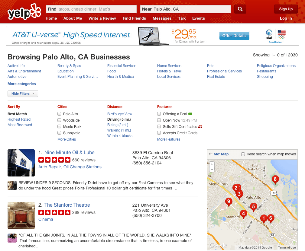 Web search engine and yelp
