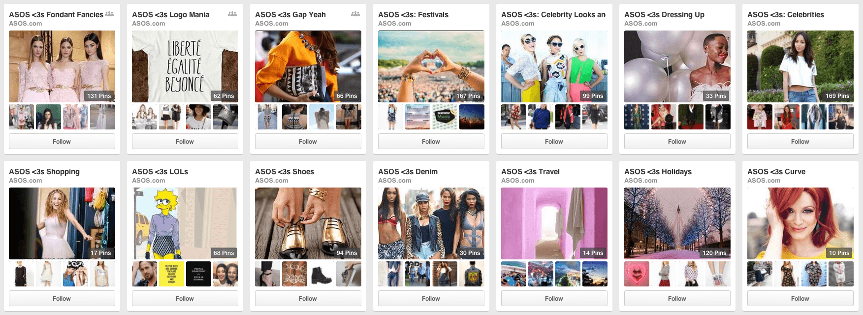 Pinterest Boards for ASOS - Social Media