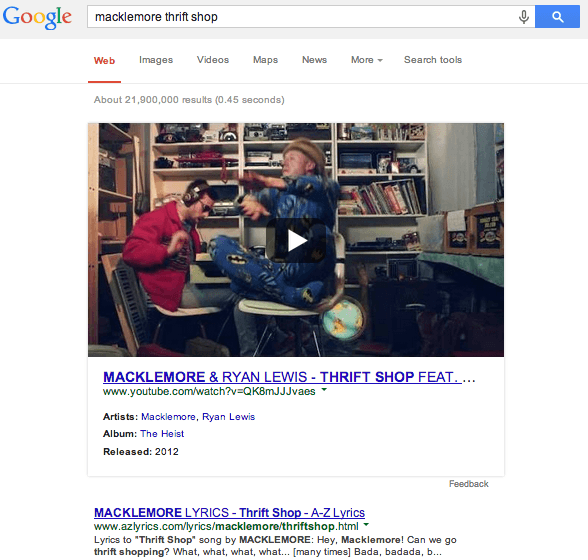 Google is Now Showing Large Embedded Videos in Search Results