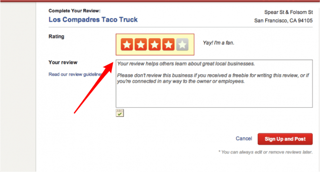Ask a review yelp