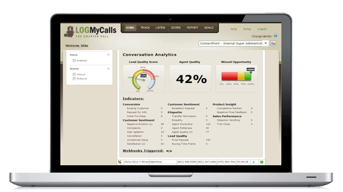 Screenshot of call tracking application LogMyCalls.