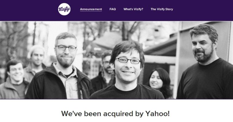Yahoo News: Company Acquires Vizify, Removes Facebook And Google Log-In Options