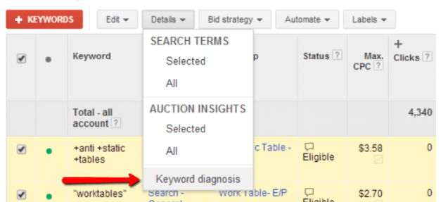 AdWords Keyword Diagnosis Report: Diagnosis Statuses Decoded