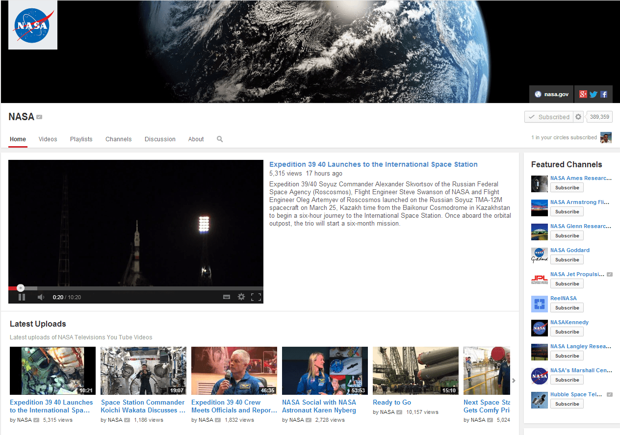 NASA YouTube