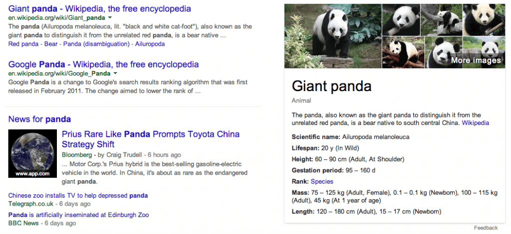 Example of Google's Knowledge Graph (on right) satisfying a query