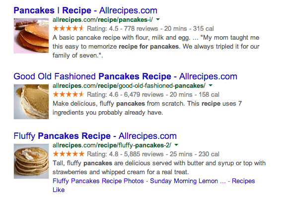 Example of recipe websites using Schema