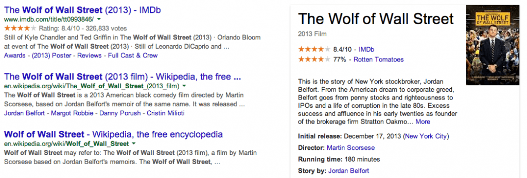 Example of both Schema and Knowledge Graph placement in SERPs