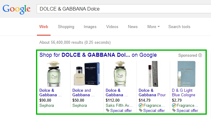 DOLCE & GABBANA Dolce comes in different flacons: 1 oz, 1,6 oz, 2,5 oz  (Screenshot taken on the 28th of April 2014)