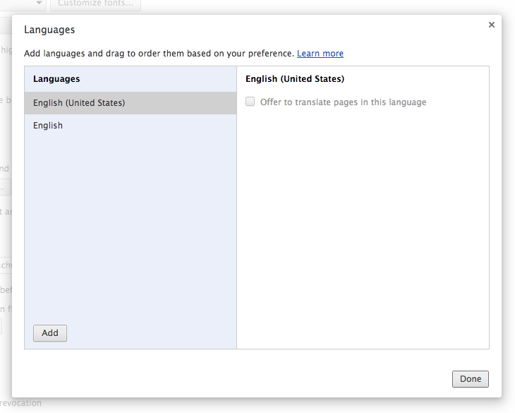 Chrome language preferences