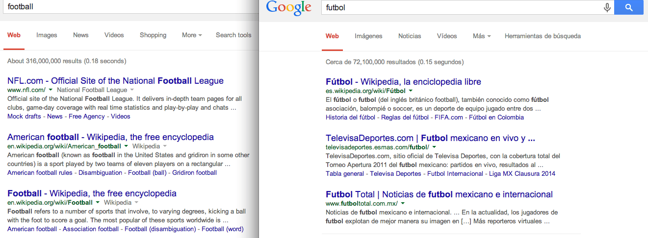 Screenshot of Google.com vs Google.com.mx. 5-30-14
