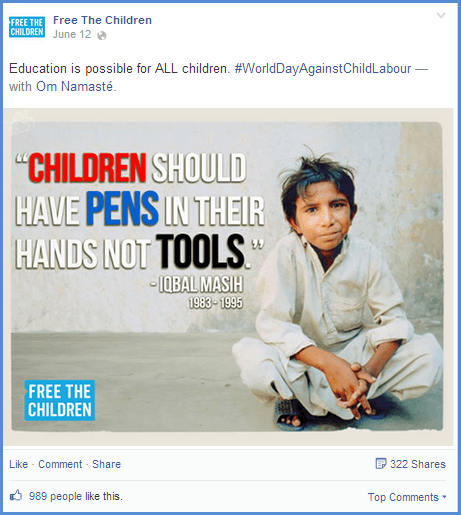 Image via:  https://www.facebook.com/freethechildren