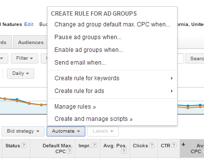 Automate Button and Menu in Google AdWords