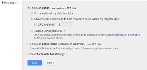Bid Automation Settings in Google Adwords