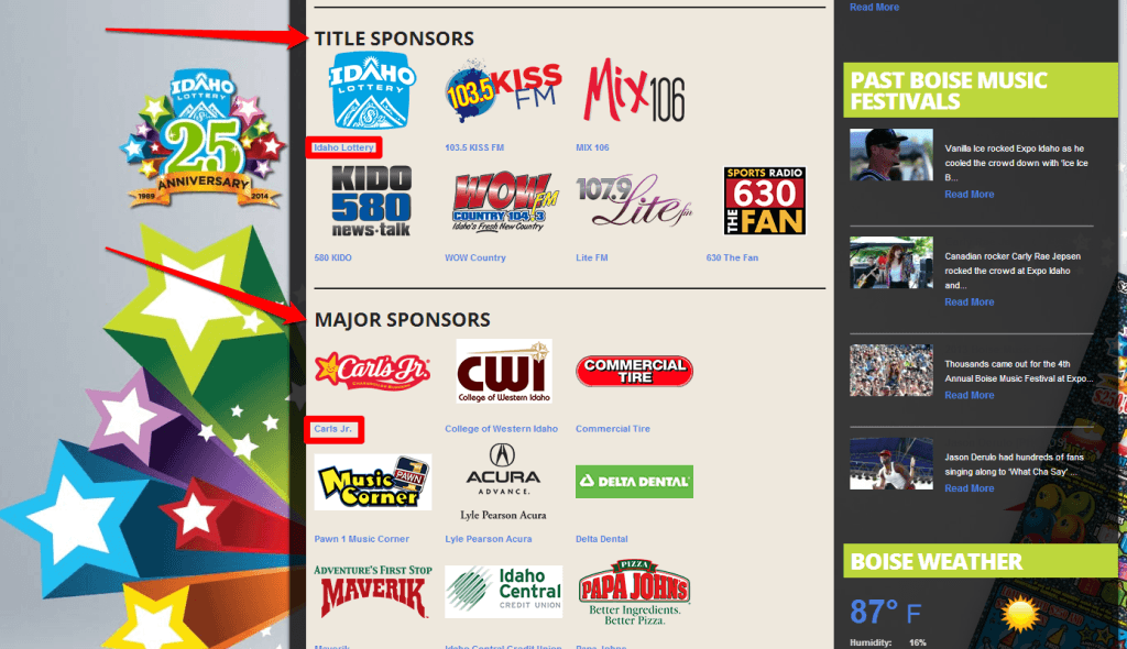 BMF Sponsors Page with Arrows
