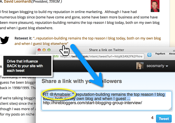 "In-line ""Tweet this"" tweets drive the influence BACK to your site"