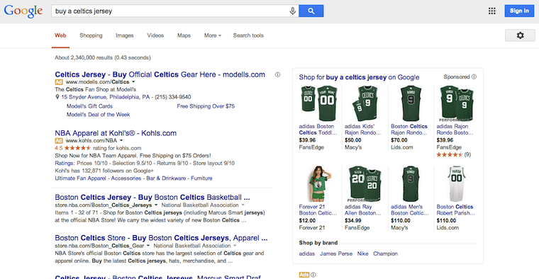 Search Engine Results Page For Buy A Celtics Jersey