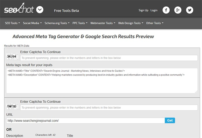 Advanced Meta Tag Generator & Google Search Results Preview home
