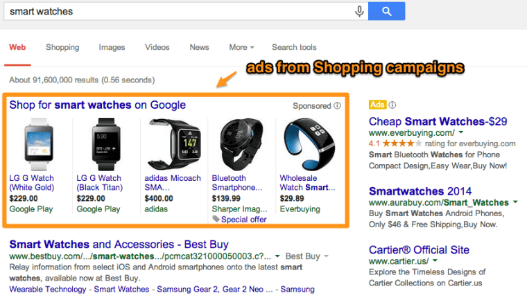 Shopping ads on Google