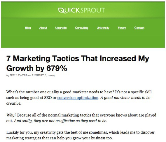 personal anecdotes on Quicksprout