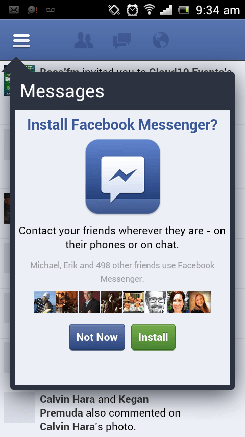 Facebook messenger popup to download app Photo/ Screen shot 08/23/2014 www.facebook.com